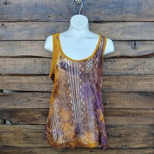 BKE Purple & Gold Lace Tank Top